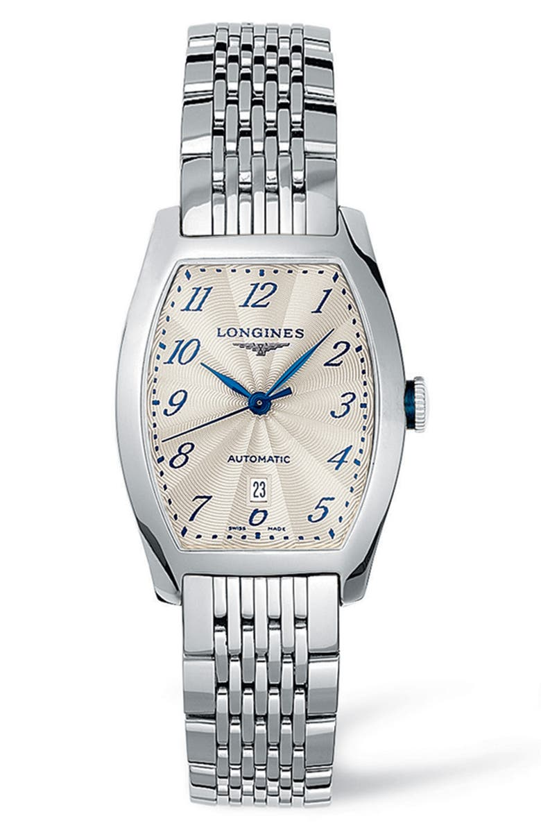 LONGINES Evidenza Automatic Bracelet Watch, 26mm x 30.6mm, Main, color, SILVER