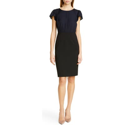Tailored By Rebecca Taylor Mock Two-Piece Dress, Black