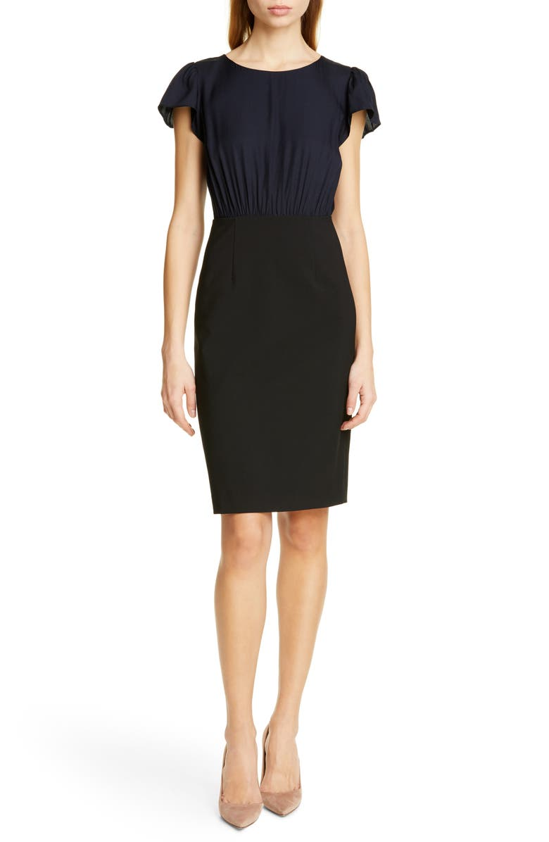 TAILORED BY REBECCA TAYLOR Mock Two-Piece Dress, Main, color, NAVY/ BLACK