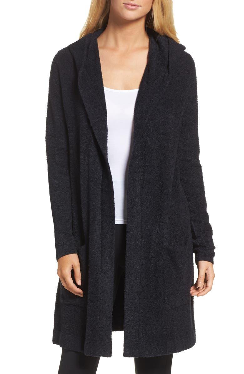 BAREFOOT DREAMS<SUP>®</SUP> Cozychic Lite<sup>®</sup> Coastal Hooded Cardigan, Main, color, BLACK