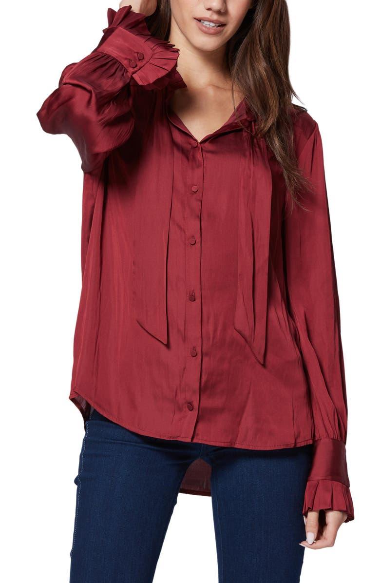 PAIGE Leonetta Tie Neck Blouse, Main, color, 601