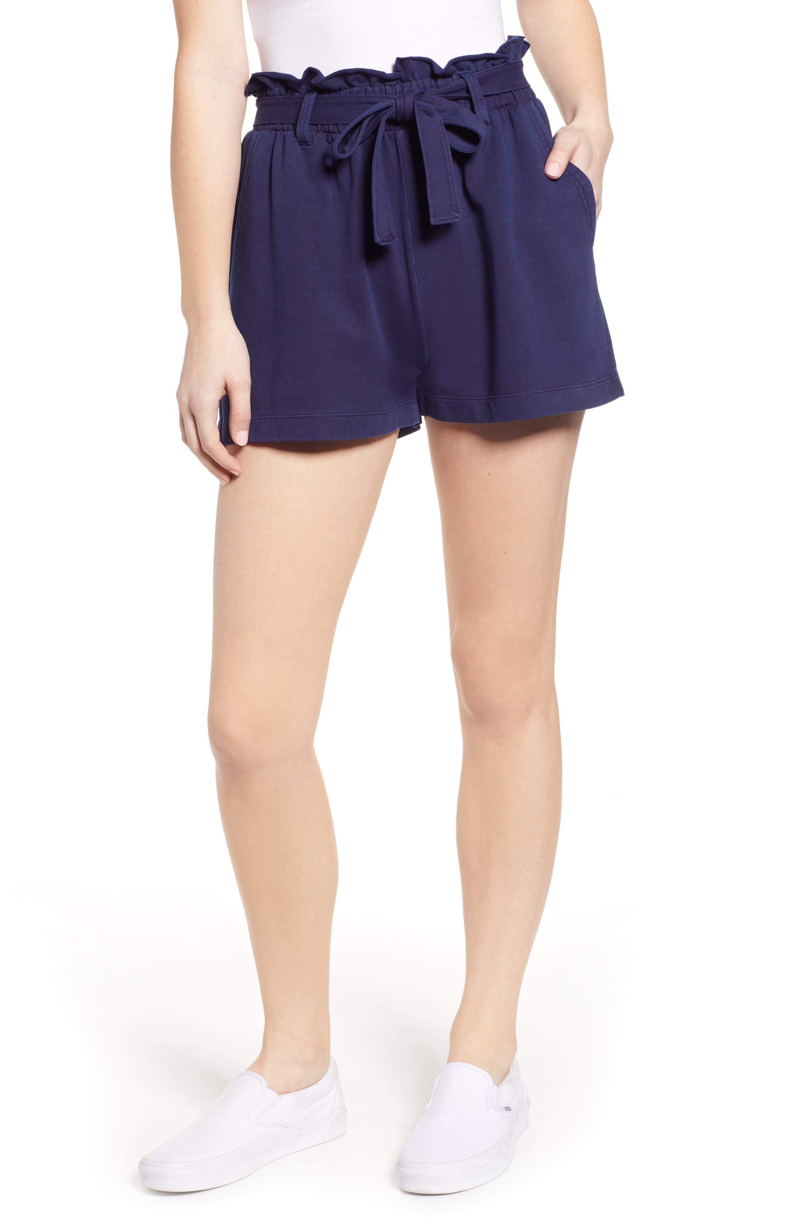 Paperbag High Waist Shorts, Main, color, NAVY EVENING