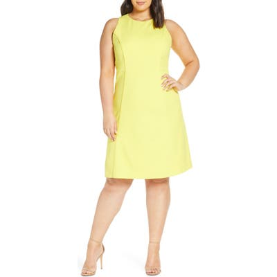 Plus Size Rachel Roy Collection Side Stripe Crepe A-Line Dress, Yellow
