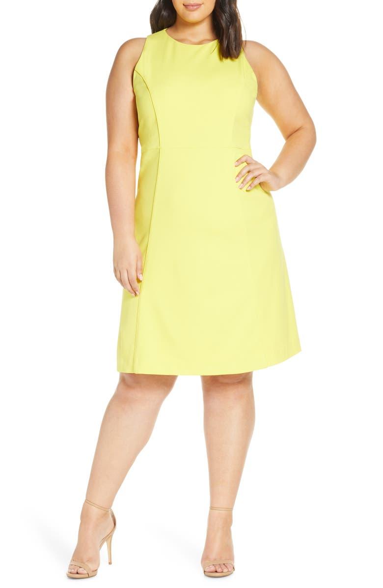 RACHEL ROY COLLECTION Side Stripe Crepe A-Line Dress, Main, color, CLOVER (SOLAR SUN)