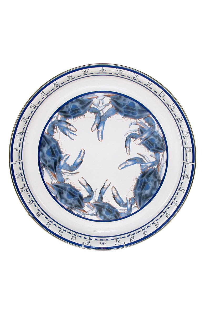 GOLDEN RABBIT Blue Crab Round Tray, Main, color, 100