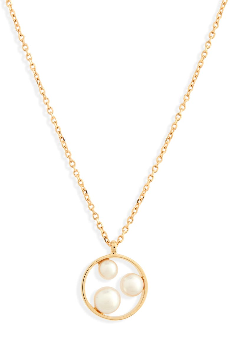 MIKIMOTO Pearl Pendant Necklace, Main, color, YELLOW GOLD