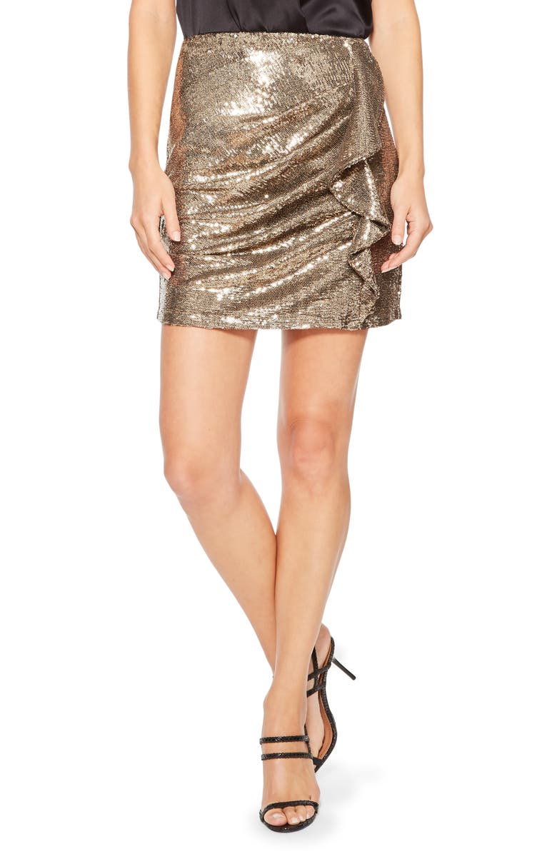PARKER Kenny Sequin Skirt, Main, color, BRONZE