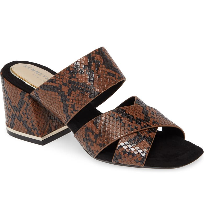 KENNETH COLE NEW YORK Maisie Slide Sandal, Main, color, BROWN MULTI LEATHER