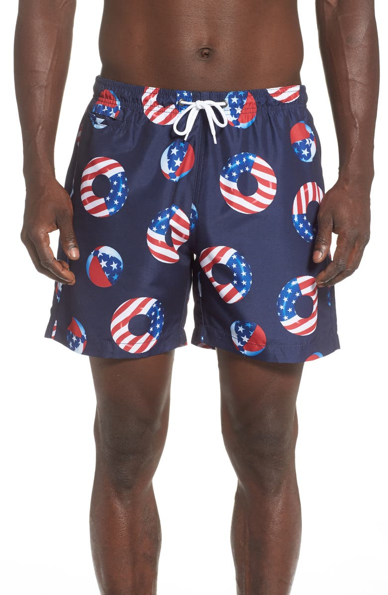 TRUNKS SURF & SWIM CO. America Floats Sano Swim Trunks, Main, color, MARINE