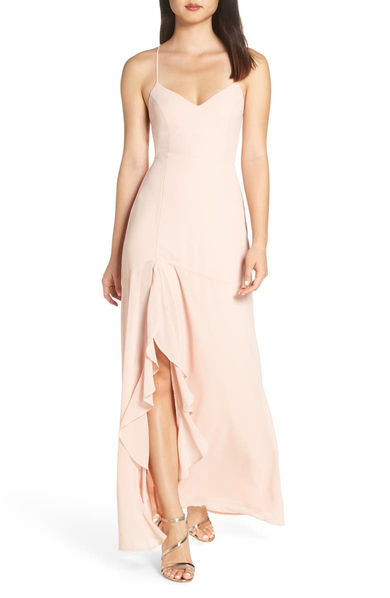 LULUS Luxurious Love Lace-Up Back Gown, Main, color, BLUSH
