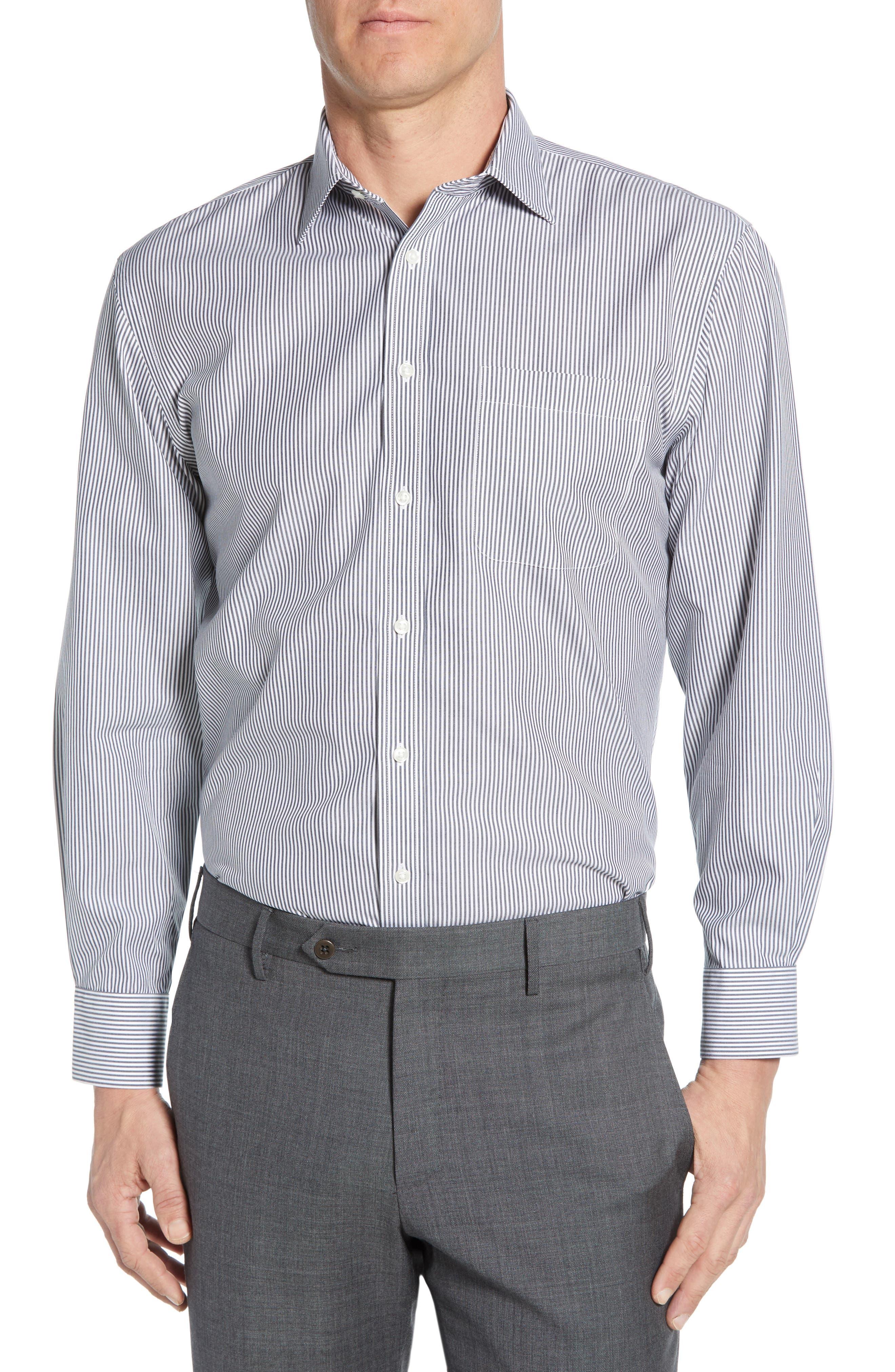 Nordstrom Shop Smartcare(TM) Traditional Fit Stripe Dress Shirt, Blue