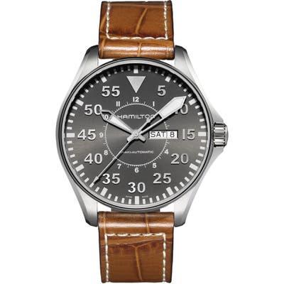 Hamilton Khaki Aviation Automatic Leather Strap Watch, 4m