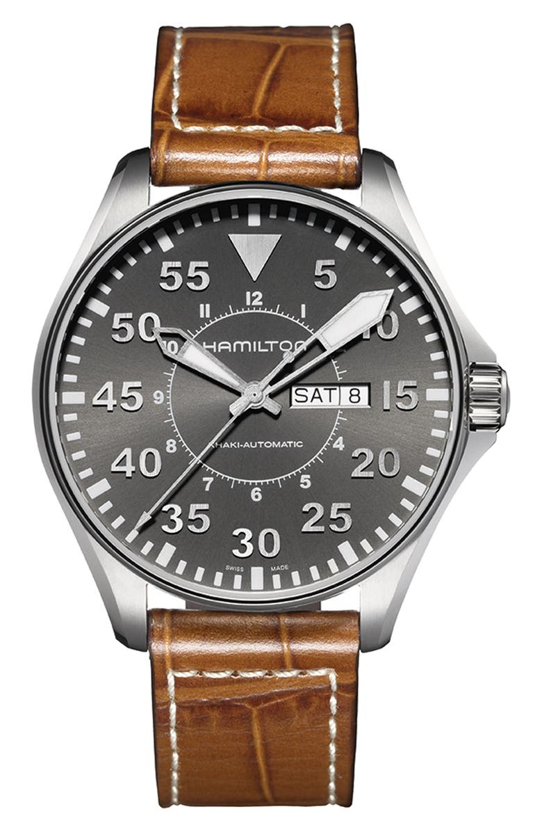 HAMILTON Khaki Aviation Automatic Leather Strap Watch, 46mm, Main, color, BROWN/ GREY/ SILVER