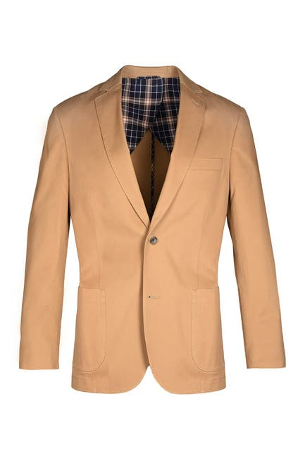 Image of FLYNT Khaki Solid Two Button Notch Lapel Soft Sport Jacket