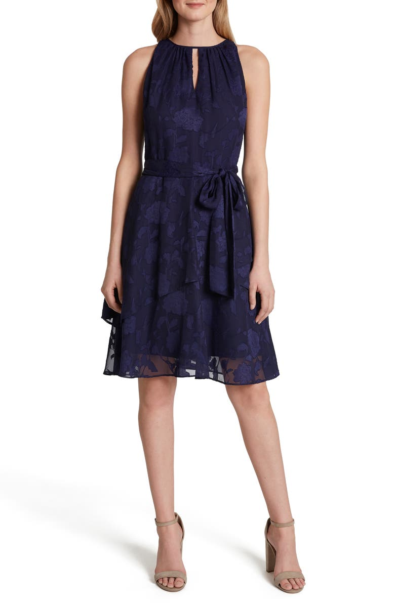 TAHARI Burnout Floral Chiffon Dress, Main, color, NAVY
