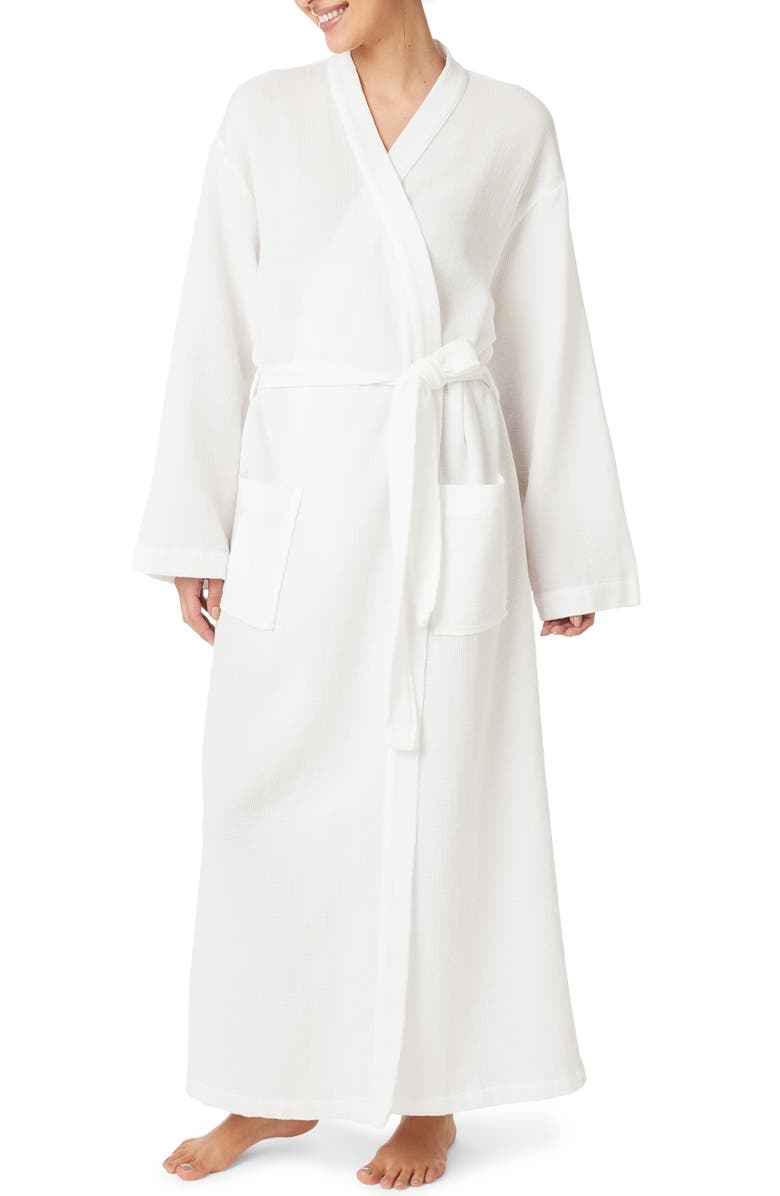 THE WHITE COMPANY Micro Waffle Detail Cotton Robe, Main, color, WHITE