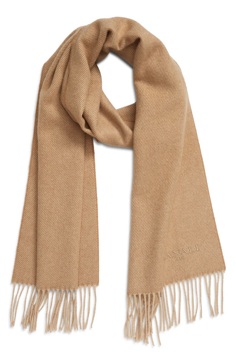 CANALI Camel Hair Scarf, Main, color, BEIGE