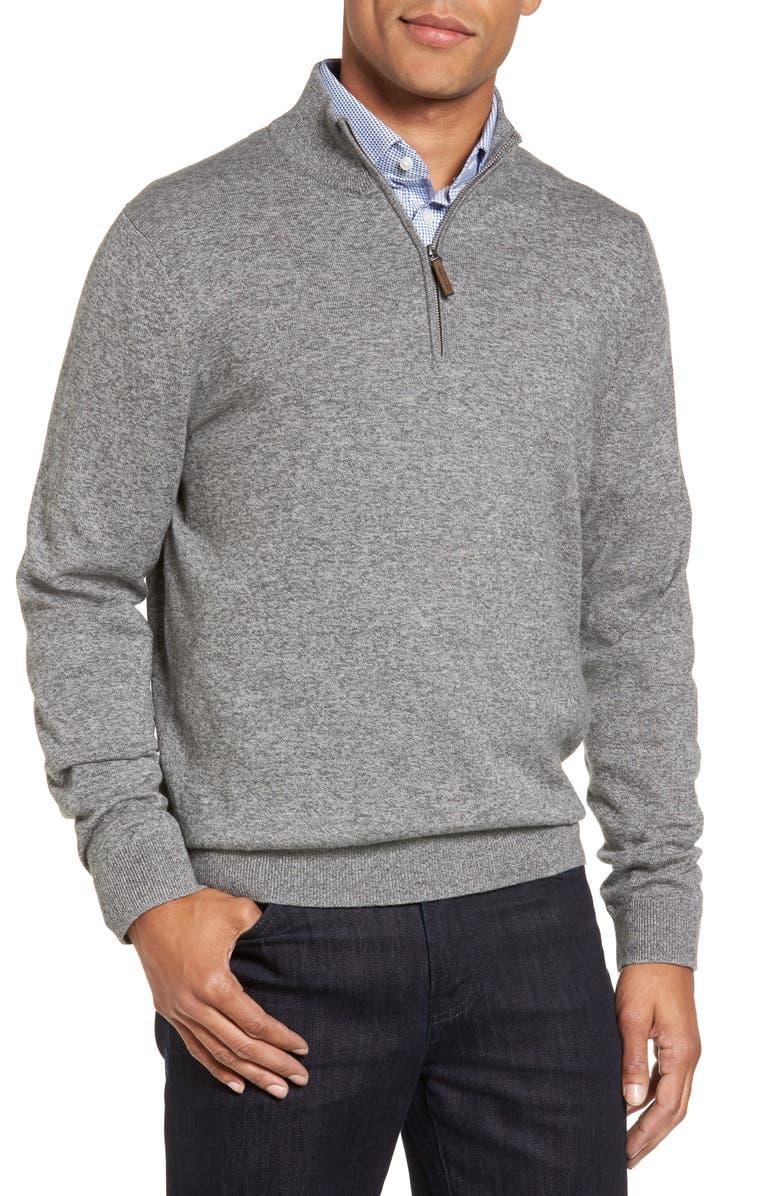 NORDSTROM MEN'S SHOP Half Zip Cotton & Cashmere Pullover, Main, color, GREY SHADE MARL