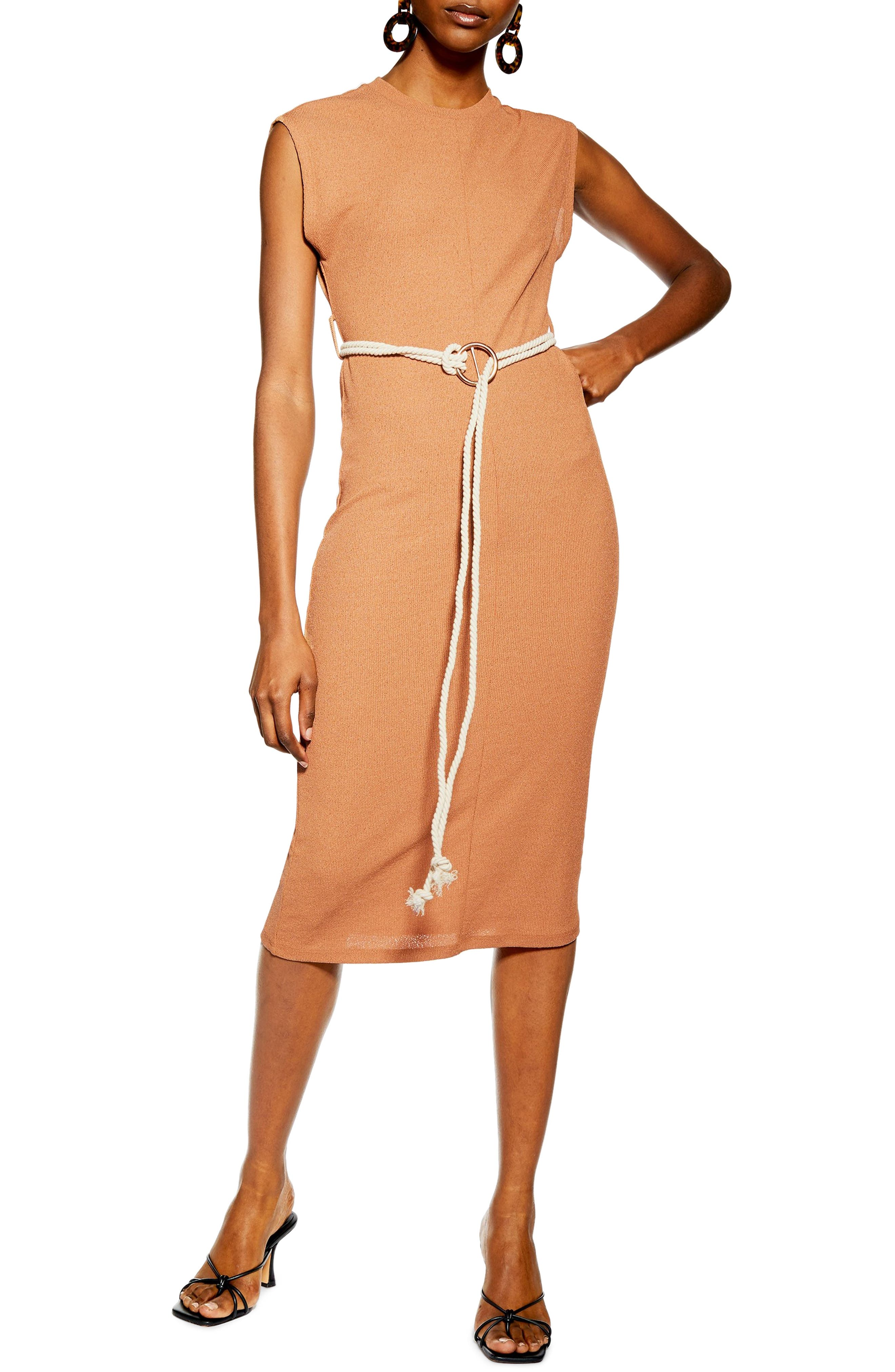 Topshop Rope Belt Midi Dress, US (fits like 2-4) - Brown