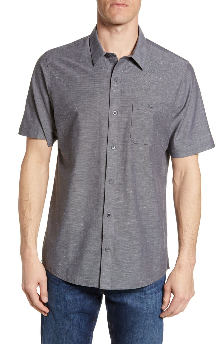 TRAVISMATHEW Studebaker Regular Fit Shirt, Main, color, GREY PINSTRIPE