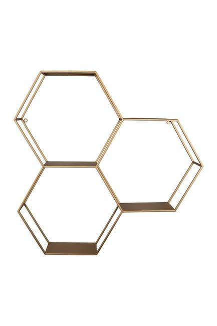 Image of Stratton Home Gold Honeycomb Hexagon Wall Shelf