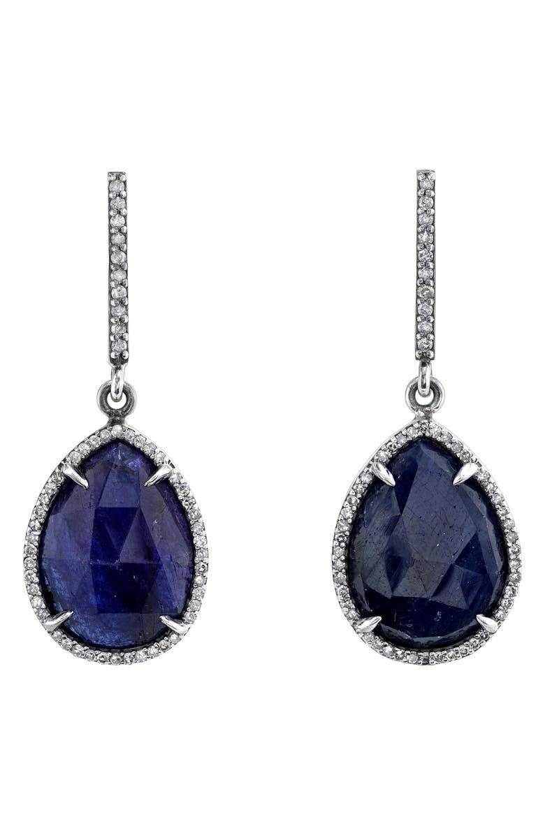 SHERYL LOWE Sapphire Teardrop Earrings, Main, color, STERLING SILVER