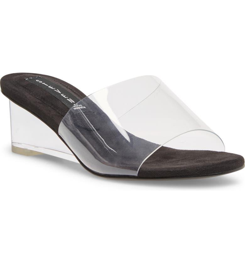 STEVEN BY STEVE MADDEN Iza Transparent Slide Sandal, Main, color, BLACK MULTI