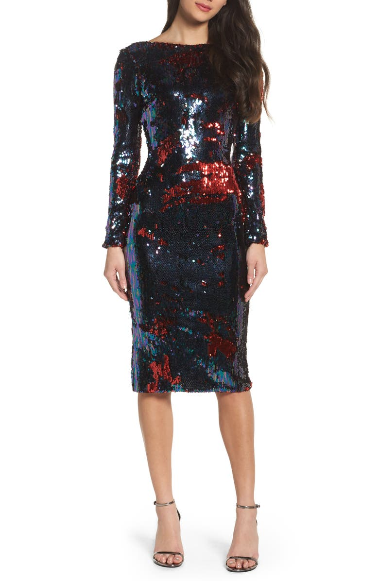 DRESS THE POPULATION Emery Scoop Back Reversible Sequin Body-Con Dress, Main, color, 457