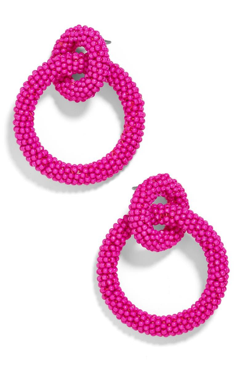 BAUBLEBAR Emma Beaded Hoop Earrings, Main, color, HOT PINK