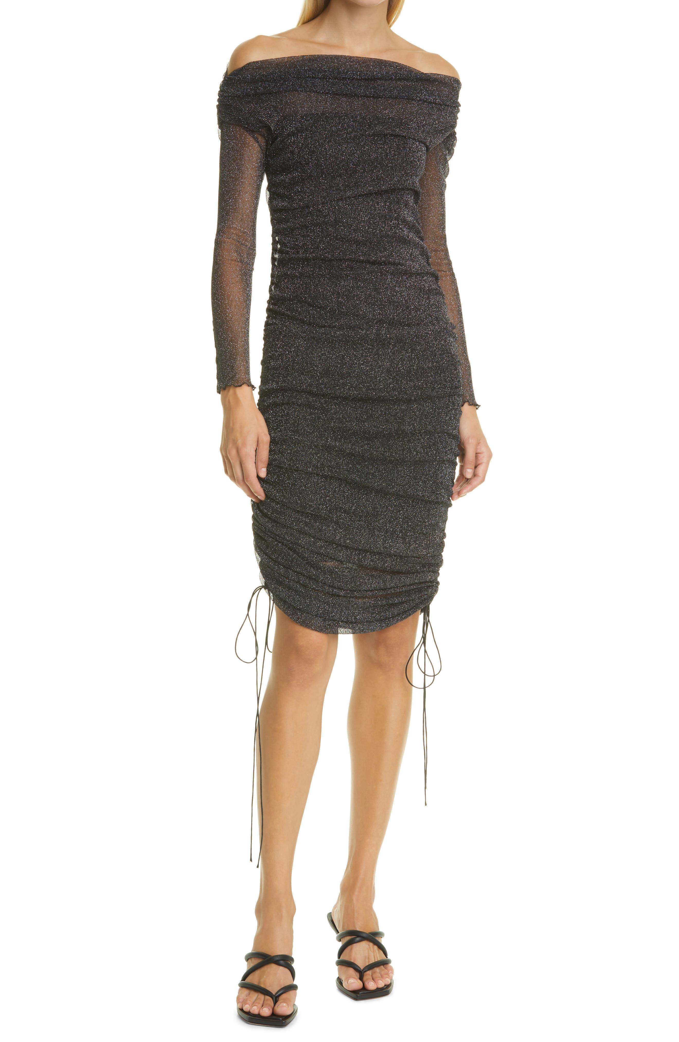 Alyssa Off The Shoulder Shimmer Tulle Midi Dress