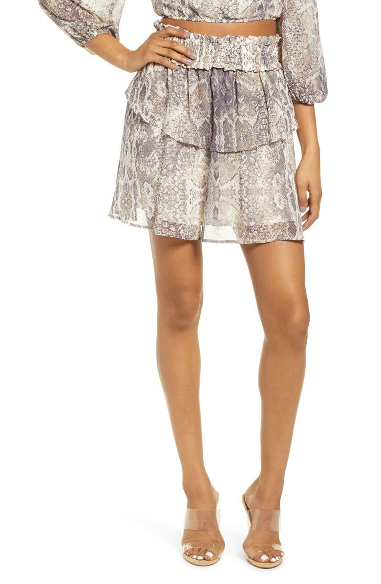 4SI3NNA Smocked Snakeskin Print Tiered Miniskirt, Main, color, 250