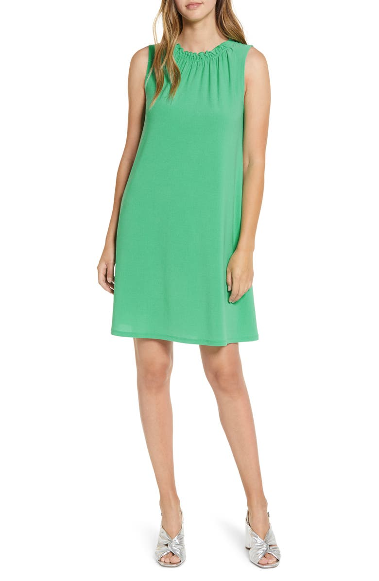 HALOGEN<SUP>®</SUP> Gathered Neck Knit Dress, Main, color, GREEN MING