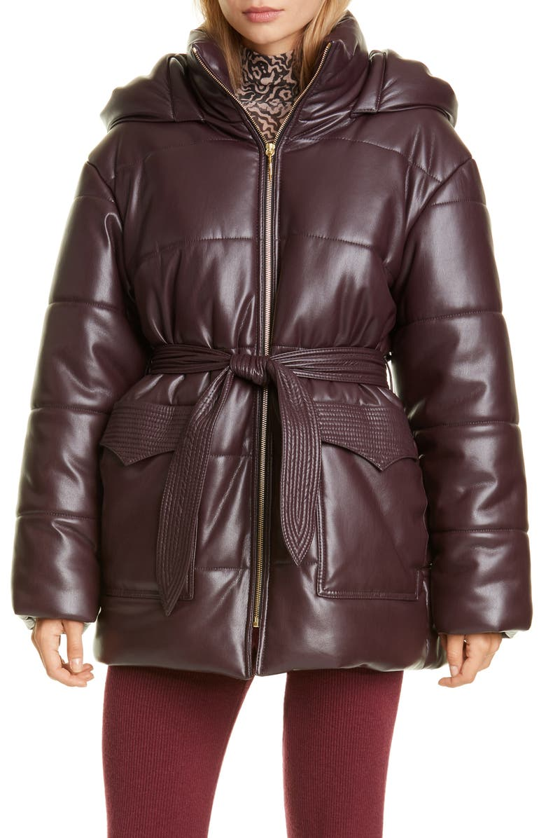NANUSHKA Lenox Faux Leather Belted Puffer Coat, Main, color, AUBERGINE
