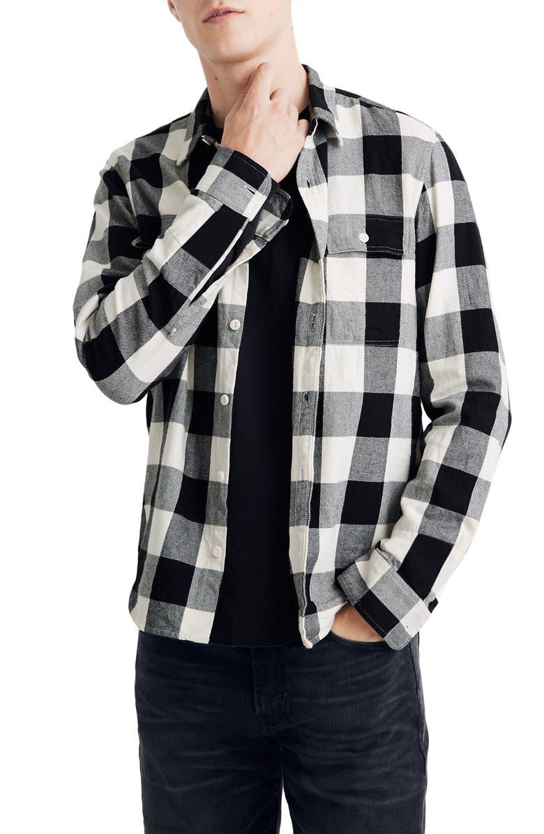 MADEWELL Buffalo Check Brushed Twill Button-Up Shirt, Main, color, BUFFALO TWILL BLACK COAL
