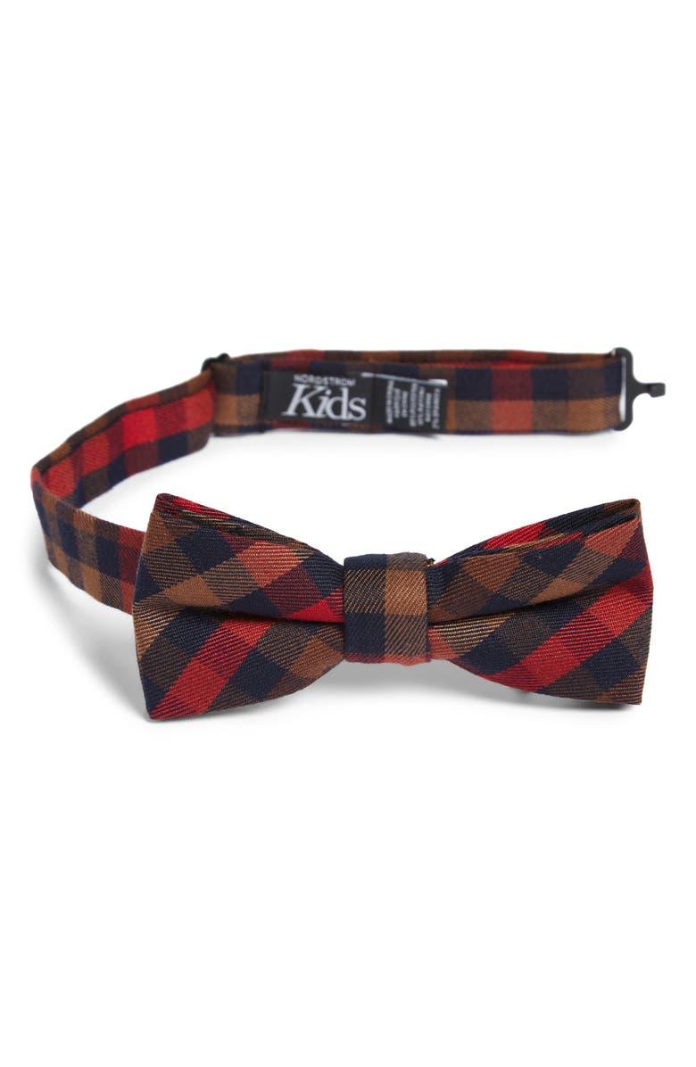 NORDSTROM Plaid Silk Bow Tie, Main, color, ORANGE
