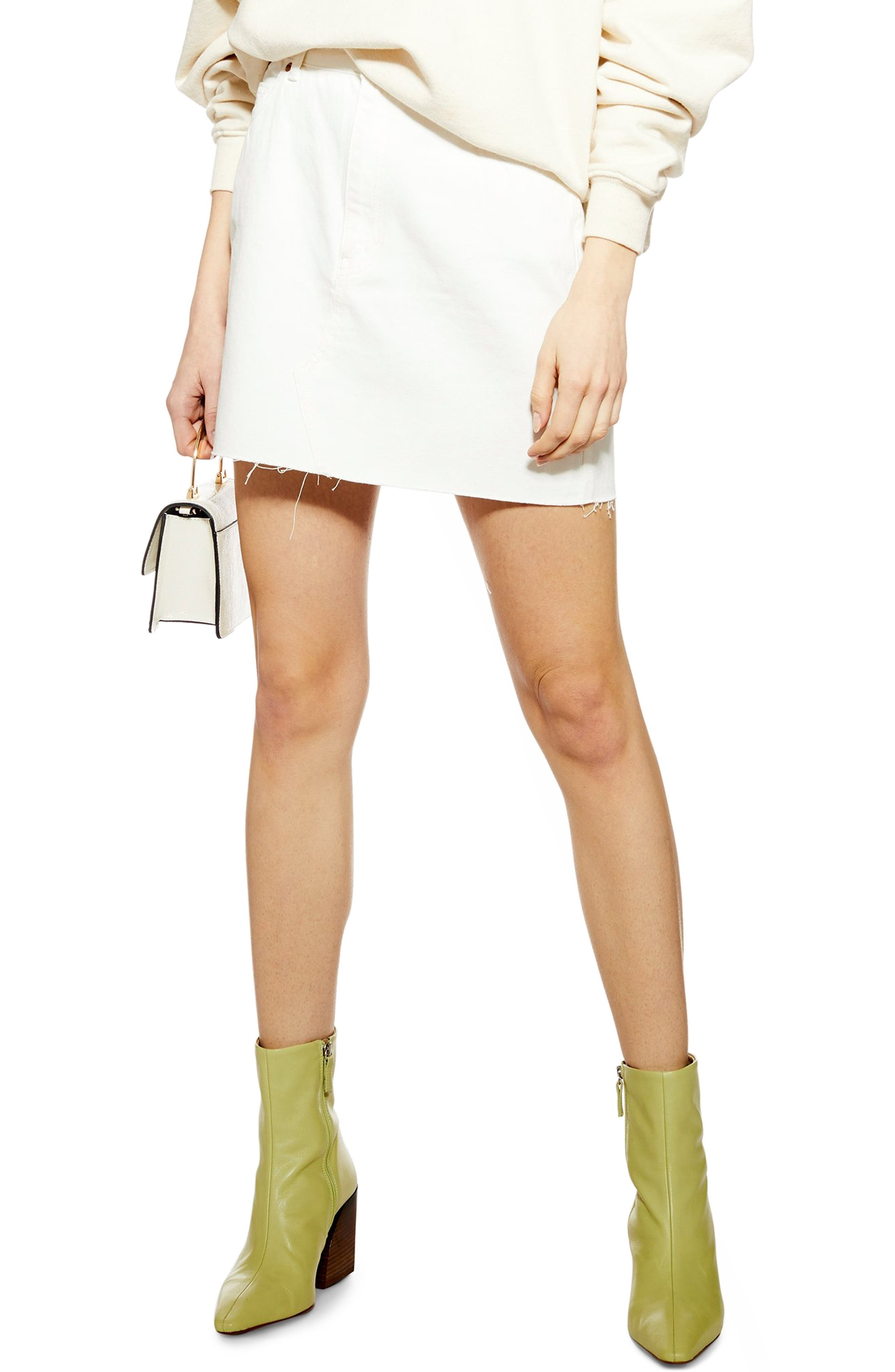 Topshop Denim Miniskirt, US (fits like 0-2) - White