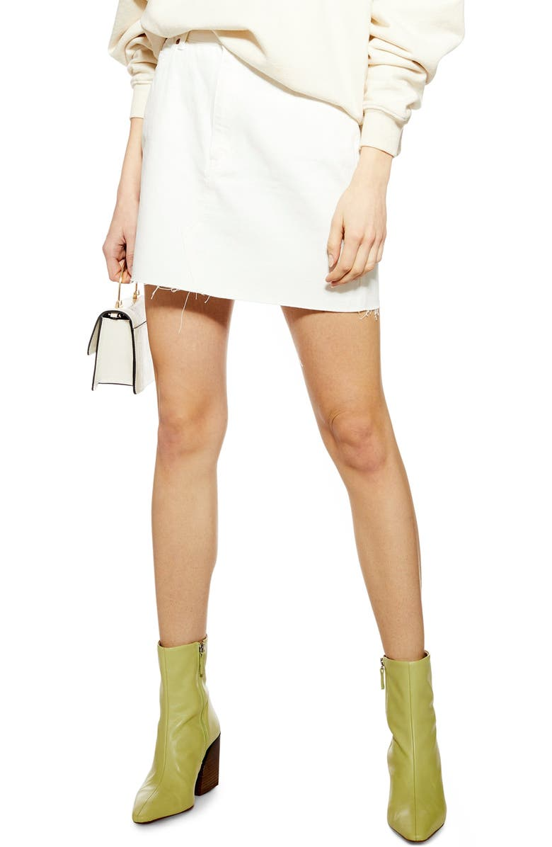 TOPSHOP Denim Miniskirt, Main, color, WHITE