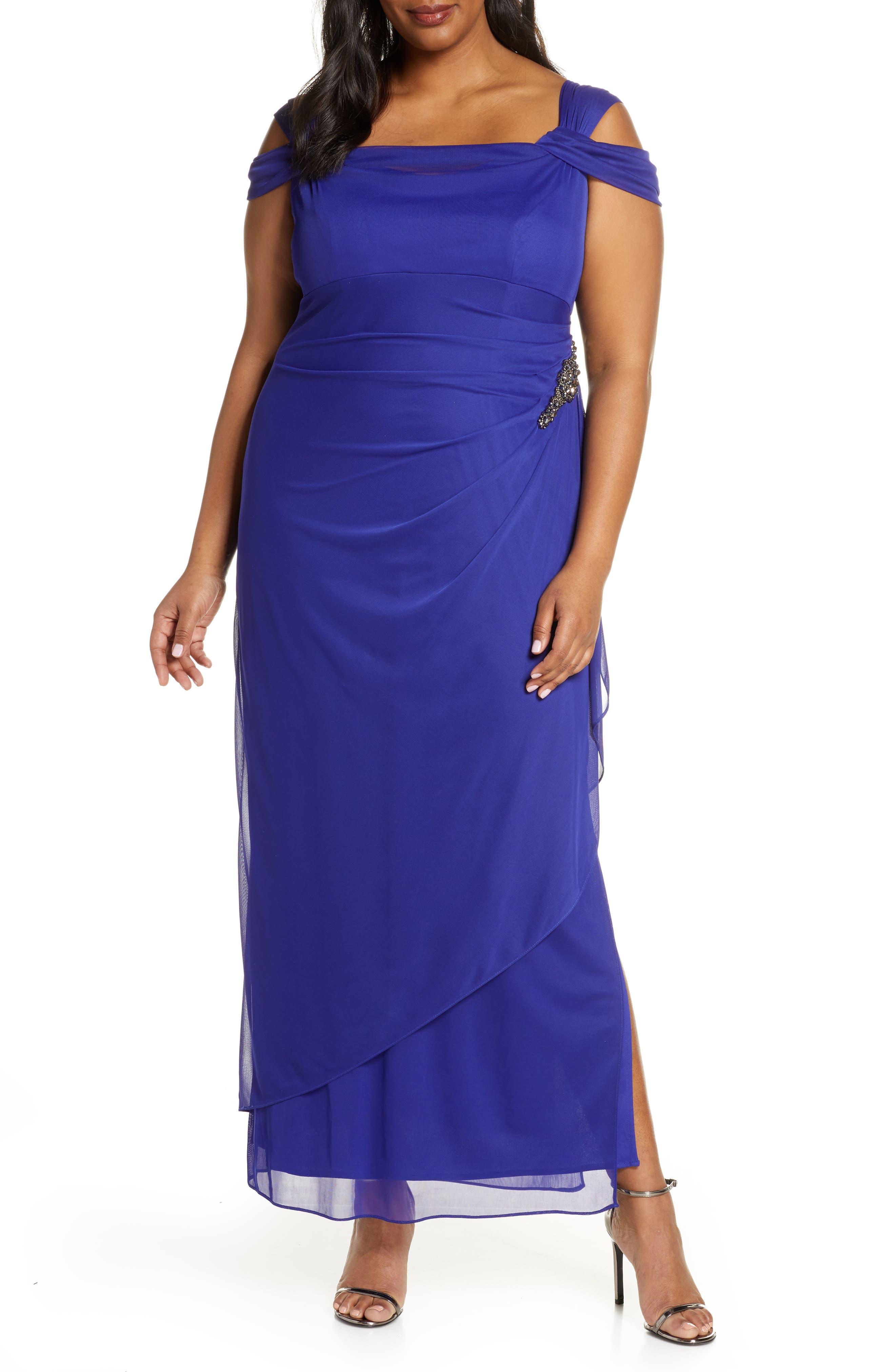 Plus Size Alex Evenings Embellished Cold Shoulder Gown, Purple