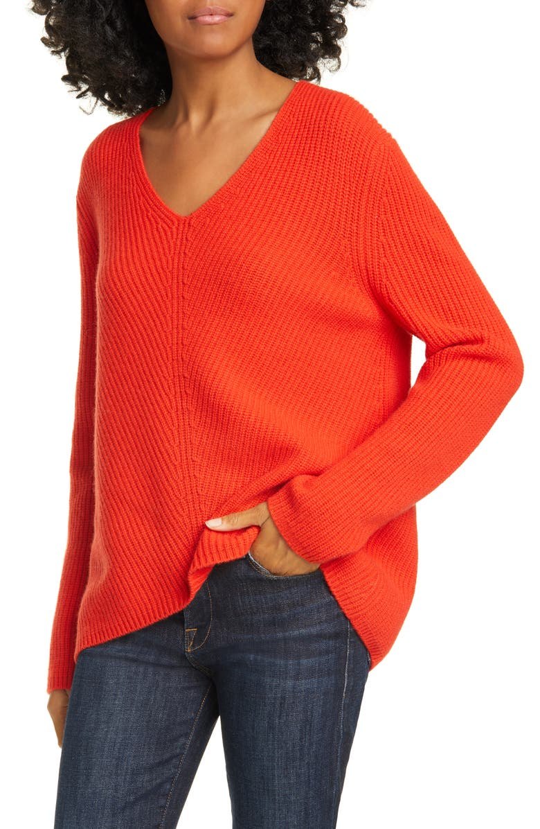NORDSTROM SIGNATURE V-Neck Cashmere Sweater, Main, color, RED FIERY