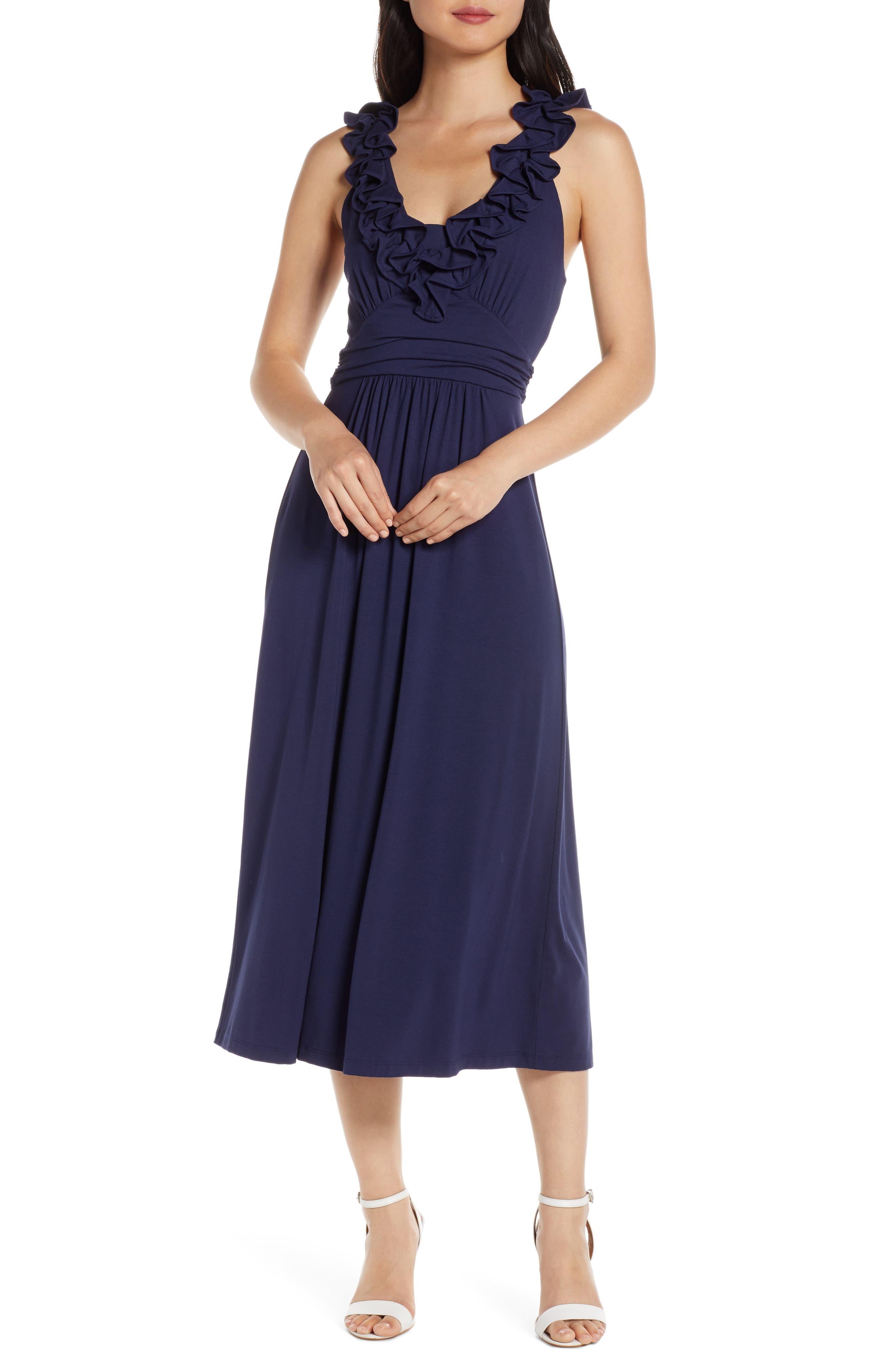 Lilly Pulitzer Leena Ruffle Midi Dress, Blue