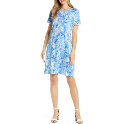 Lilly Pulitzer Lissie Pompom Detail Cotton Dress, Blue