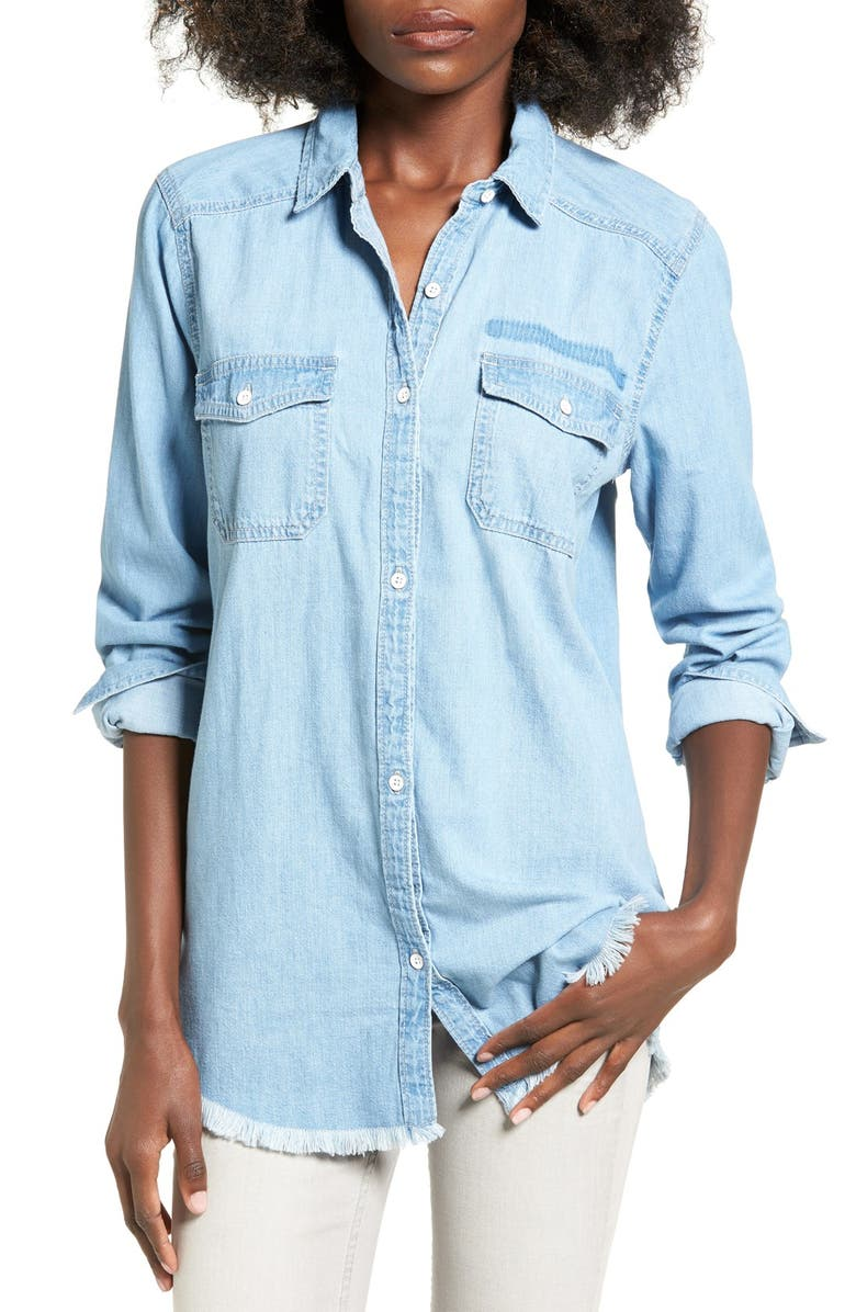 BP. Frayed Hem Chambray Shirt, Main, color, 450