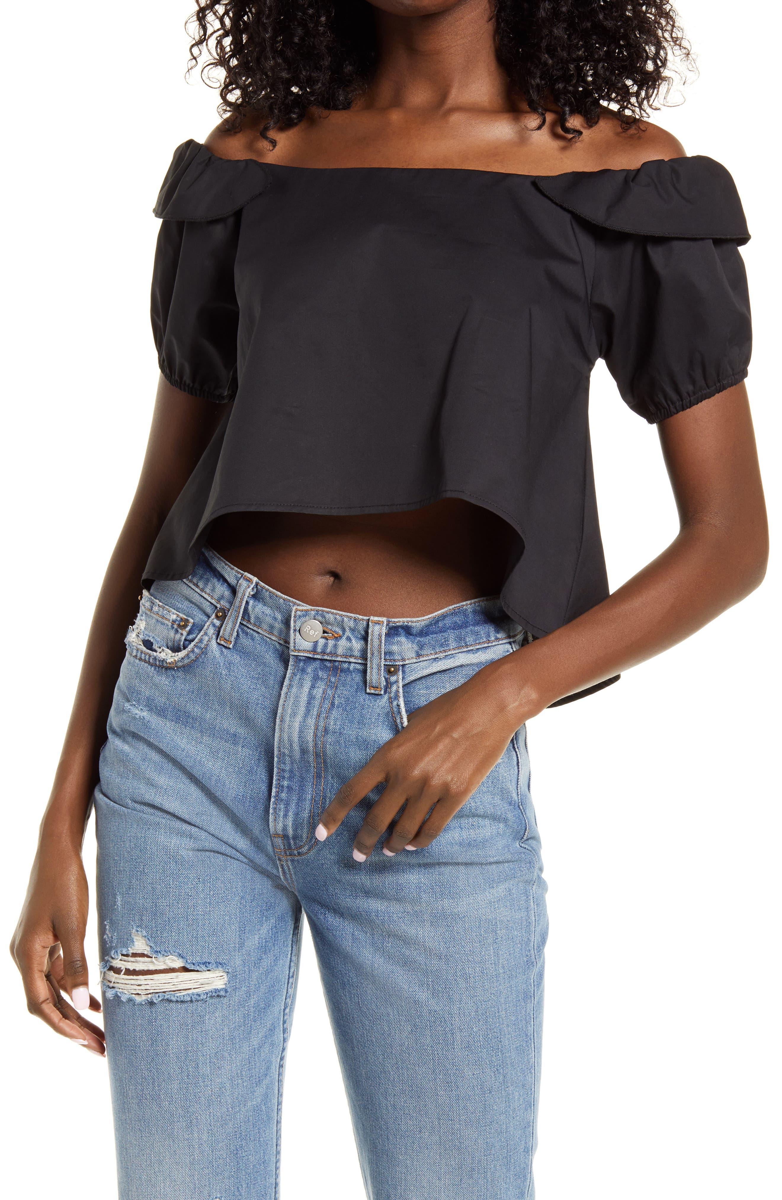 Off The Shoulder High/low Cotton Blouse