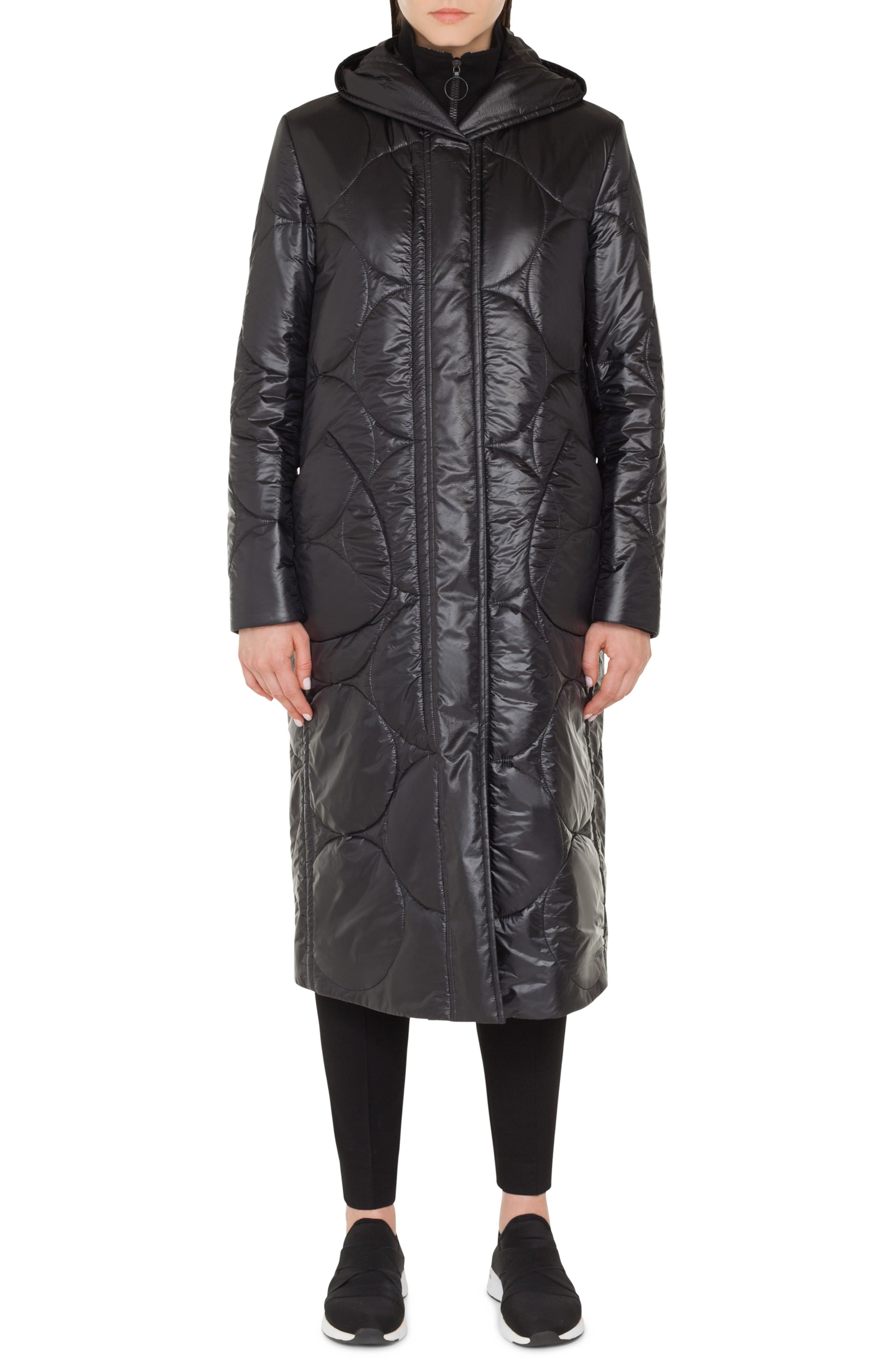 Circle Puffer Coat, Main, color, NERO