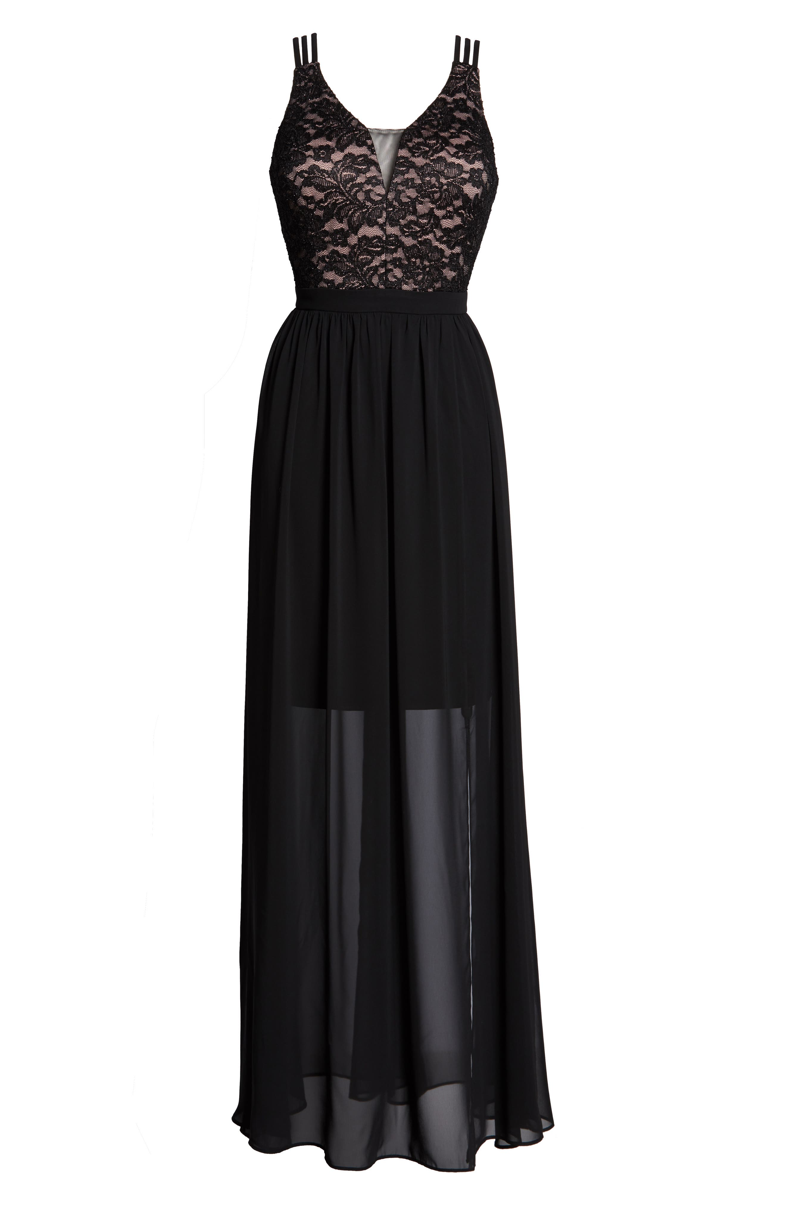 ,                             Strappy Lace Bodice Chiffon Gown,                             Alternate thumbnail 7, color,                             BLACK/ NUDE