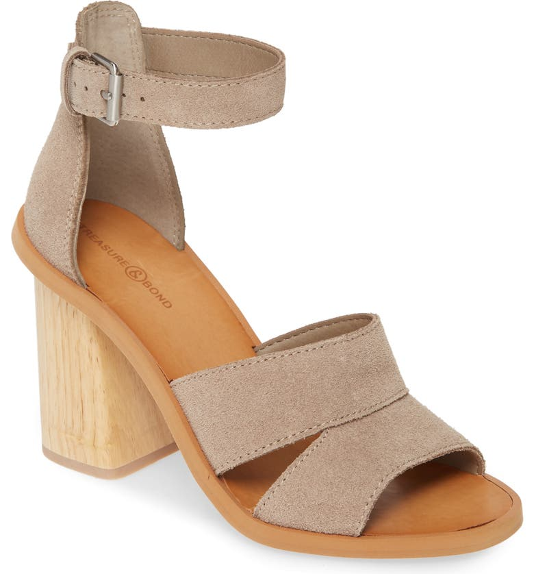 TREASURE & BOND Audrey Ankle Strap Sandal, Main, color, GREY SUEDE