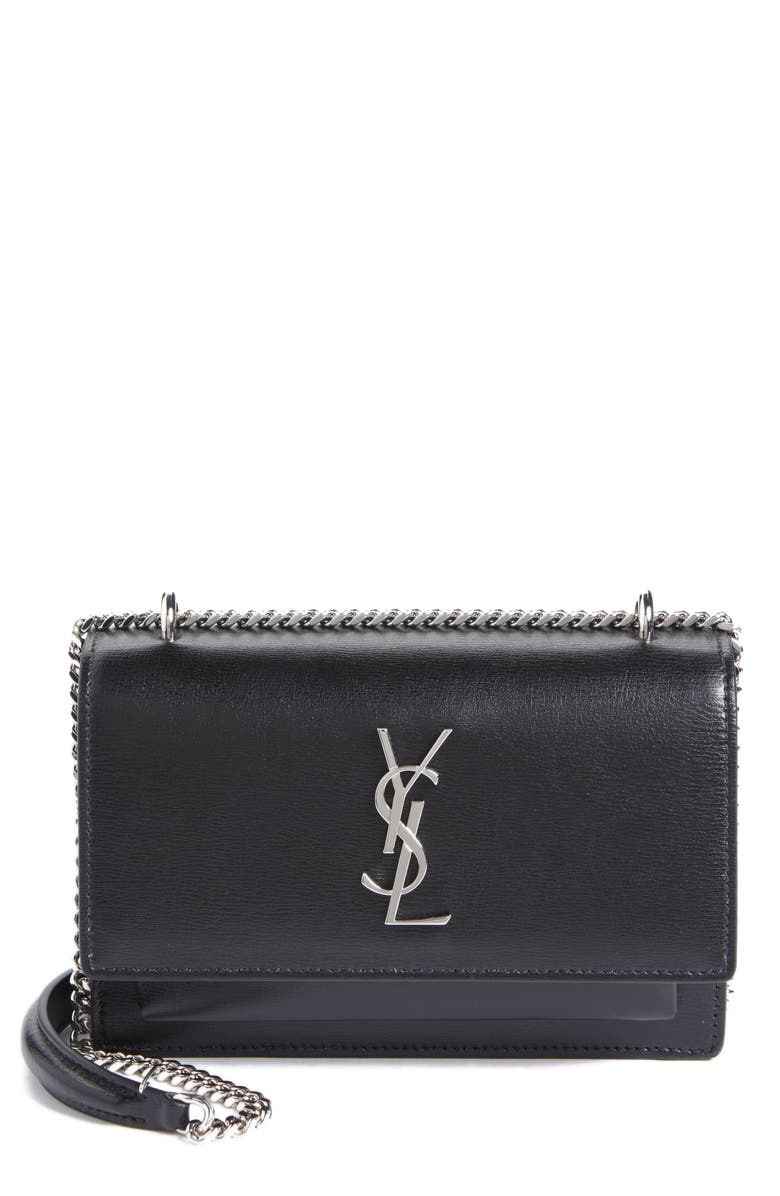 SAINT LAURENT Sunset Leather Wallet on a Chain, Main, color, NOIR
