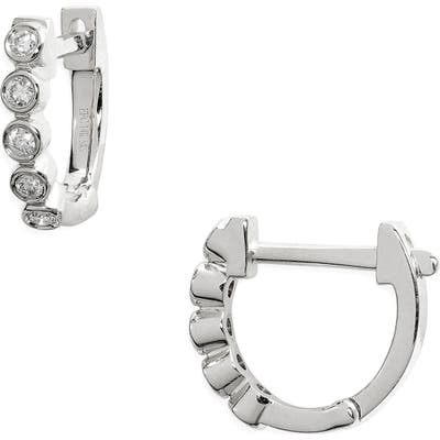 Ef Collection Mini Diamond Bezel Huggie Hoop Earrings