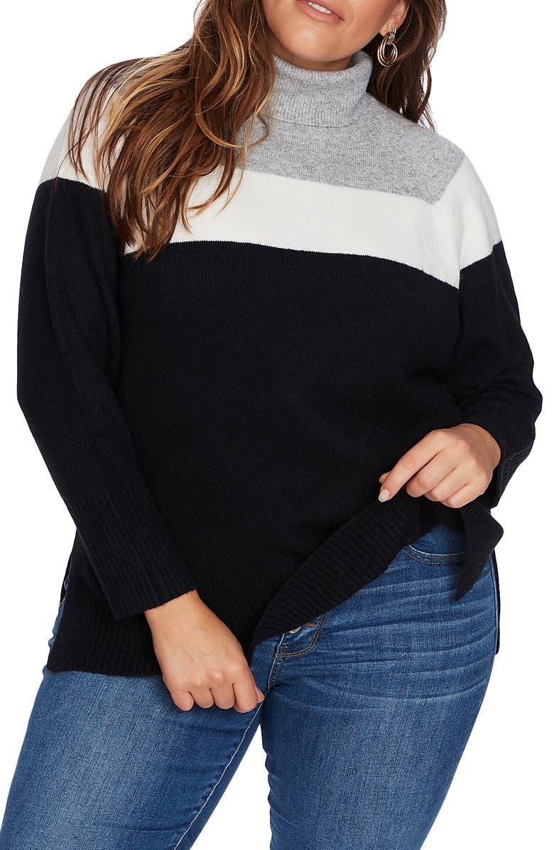 COURT & ROWE Cozy Colorblock Turtleneck Sweater, Main, color, RICH BLACK
