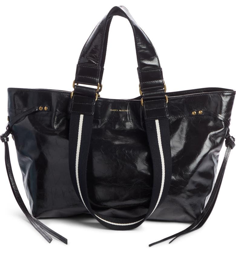 ISABEL MARANT Bagya Leather Tote, Main, color, BLACK